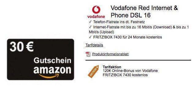 Vodafone DSL Red Internet & Phone 16 Mbit/s für eff. 11,66€ mtl. (oder 100 Mbit/s für eff. 17,49€mtl.) + 30€ Amazon Gutschein + FRITZ!BOX für 24 Monate gratis