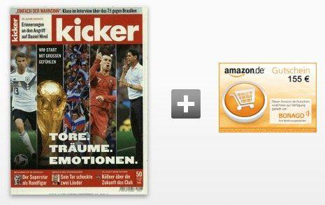 Kicker Jahresabo (104 Ausgaben) für 236,60€ inkl. 155€ Amazon Gutschein oder 145€ Verrechnungsscheck