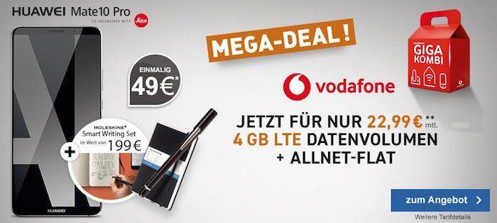 Huawei Mate 10 Pro für 49€ inkl. Moleskine+ Smart Writing Set gratis + Vodafone Young M mit 4GB LTE für 22,99€ mtl.