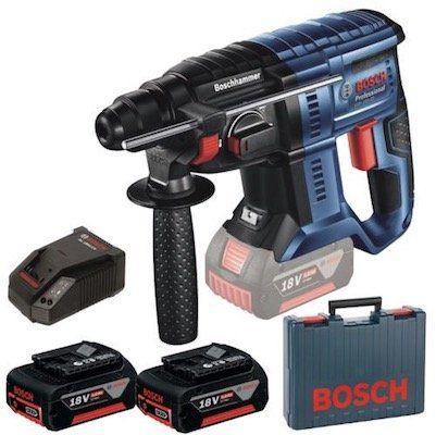 Bosch GBH 18V 20 Akku Bohrhammer + 2 Akkus je 5 Ah + Ladegerät + Koffer nur 246,49€ (statt 280€)