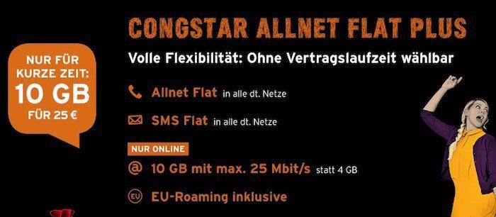 Tipp! Telekom Allnet Flat von Congstar mit 10GB LTE (!) für 30€mtl.   monatlich kündbar!