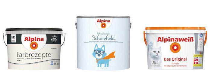 Alpina Wandfarben Sale bei vente privee   z.B. 10 Liter Weiß Matt für 35,90€ (statt 47€)