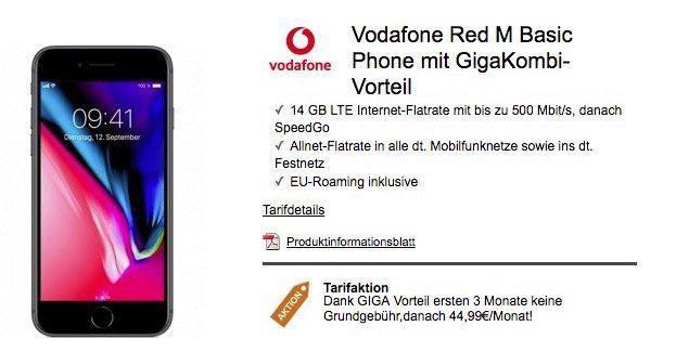 iPhone 8 für 4,99€ + Vodafone Red M Basic mit 14GB LTE für 44,99€ mtl.   nur GigaKombi Vorteil!