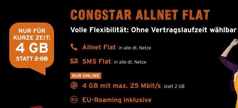 Knaller! 3 Monate Congstar Allnet Flat im Telekom Netz mit 4GB effektiv gratis + monatlich kündbar