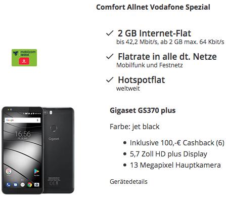 Knaller! Gigaset GS370 plus Smartphone für 4,95€ + 100€ Cashback + Vodafone Allnet Flat mit 2GB für 10,99€ mtl.