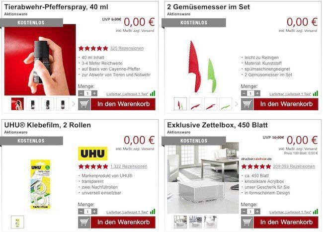 11 Gratis Artikel bei Druckerzubehör + 5,97€ VSK   z.B. Gartenhacke mit Kralle