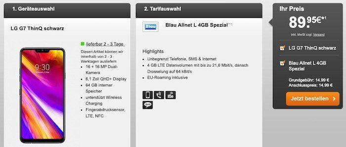 o2 Allnet Flat mit 4GB LTE für 14,99€ mtl. + LG G7 ThinQ für 89,95€