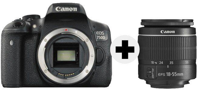 Canon EOS 750D Full HD Kamera + 18 55mm + Tasche für 475€ (statt 533€)