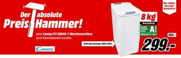CANDY CST G384D S Toplader Waschmaschine für 299€ (statt 363€)