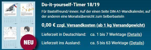 Do it yourself Timer 18/19 (DIN A1) kostenlos anfordern