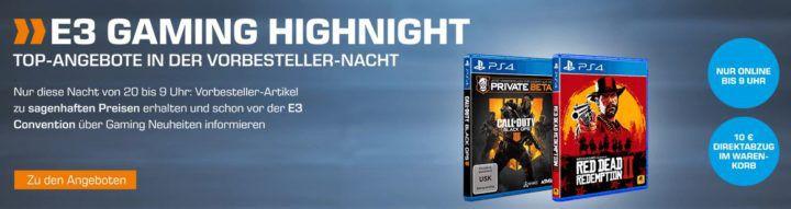 Saturn E3 Gaming Highnight: Gaming Vorbesteller Aktion z.B. Red Dead Redemption 2 für 59,99€