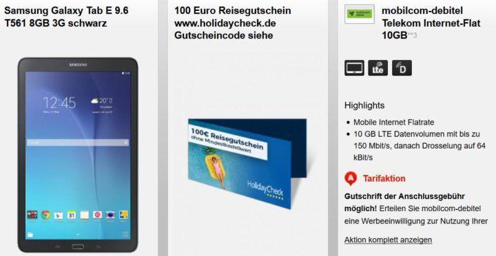 Samsung Galaxy Tab E 9.6 + 4GB oder 10GB Telekom Datenflat + 100€ Urlaubsgutschein ab 9,99€ mtl.