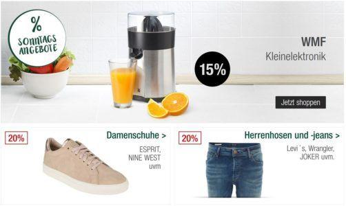 Galeria Kaufhof Sonntagsangebote   z.B. 20% auf Damenschuhe, Uhren, Schmuck, Herrenhosen & Jeans und vieles mehr