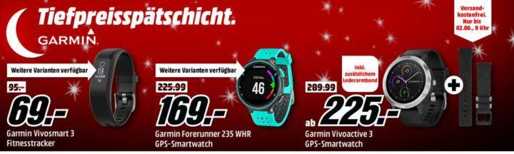 Media Markt Garmin Tiefpreisspätschicht: günstige Smartuhren & Tracker z. B. GARMIN Forerunner 235 WHR für 169€ (statt 204€)