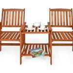 2-Sitzer Gartenbank mit Tisch aus Akazienholz ab 71,95€
