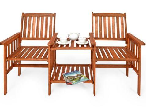 2 Sitzer Gartenbank mit Tisch aus Akazienholz ab 71,95€