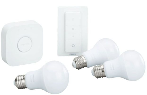 PHILIPS Hue White Starter Kit + Dimmer + 3 x E27 Lampen + Google mini ab 84€ (statt 121€)