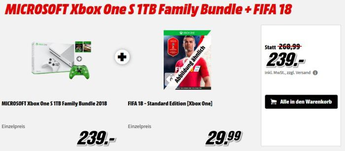 Media Markt XBox Game & Zubehör Sale: z.B. Xbox One S 1TB Bundle mit 3 Games + Creeper Controller für 239€