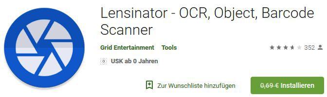 Lensinator   OCR, Object, Barcode Scanner (Android) gratis statt 0,69€