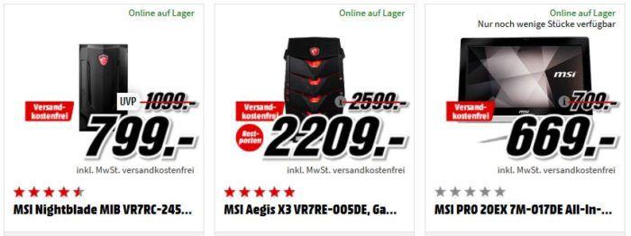 Media Markt MSI Tiefpreisspätschicht: z.B. MSI GV72 Gaming Notebook 17.3 Core i7  für 899€ (statt 1.154€)