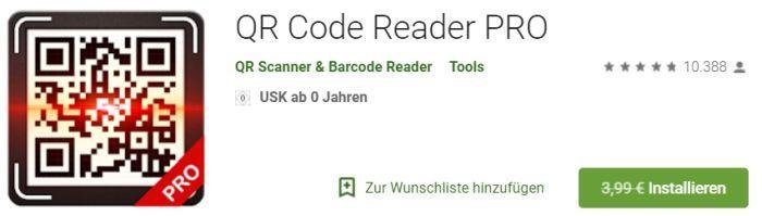 QR Code Reader Pro (Android) gratis statt 3,99€