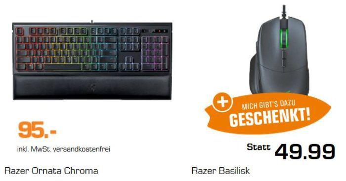 Razer Ornata Chroma Gaming Tastatur + RAZER Basilisk Gaming Maus für 95€ (statt 135€)