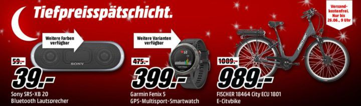 Media Markt Tiefpreisspätschicht: günstige Wearables & Smartphones, E Bikes, ActionCams & Navis, Lautsprecher & Kopfhörer