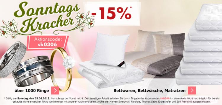 Karstadt Sonntags Kracher mit 15% Rabatt auf Ringe und Bettwaren