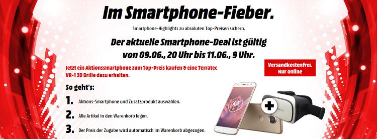 Smartphone Fieber mit gratis VR Brille   z.B. Motorola Z2 Play für 239€ (statt 300€)