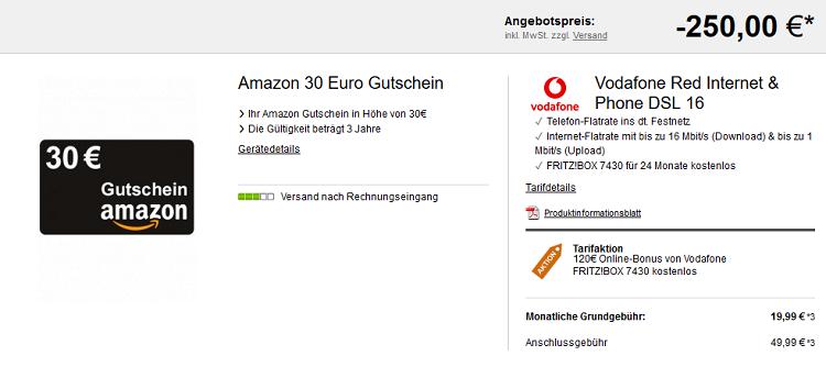 Knaller! Vodafone DSL Red Internet & Phone 16 Mbit/s für eff. 11,66€ mtl. + 30€ Amazongutschein + FRITZ!BOX für 24 Monate