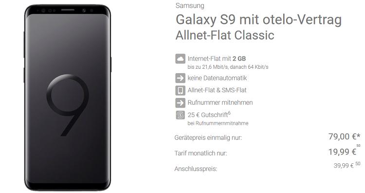 Samsung Galaxy S9 für 79€ + otelo Allnet u. SMS Flat im Vodafone Netz mit 2GB für 19,99€ mtl.