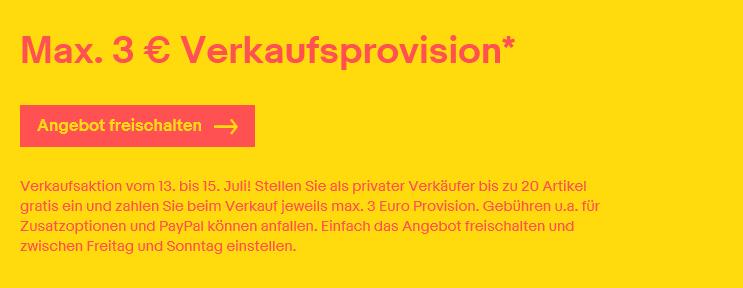 eBay: max. 3€ Verkäuferprovision auf Auktionen und Festpreisangebote