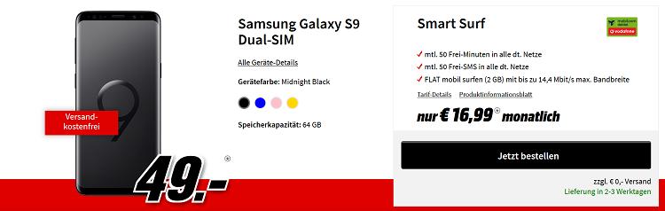 Knaller! Samsung Galaxy S9 für 49€ + Vodafone Smart Surf Flat mit 2GB + 50 Freimin/SMS 16,99€ mtl.