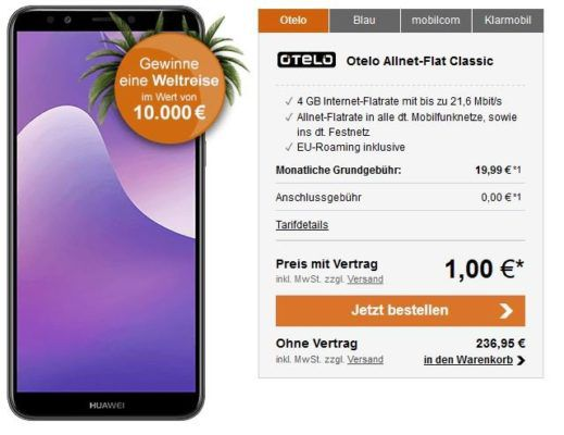 Huawei Y7 (2018) + Vodafone AllNet + 4 GB Daten Flat für 19,99€ mtl.