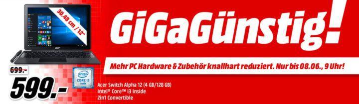 Media Markt GiGaGünstig Sale: PC Hardware & Zubehör reduziert   z.B. MS Surface Laptop i7 für 1.239€ (statt 1.470€)