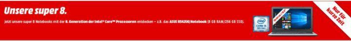 Media Markt: Notebook Sale mit intel 8. Gen. CPU   z.B. HP 15 bs135ng i5 12 GB RAM Radeon 520 für 699€ (statt 799€)
