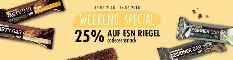 Fitmart: 25% auf ESN Riegel   VSK frei ab 75€