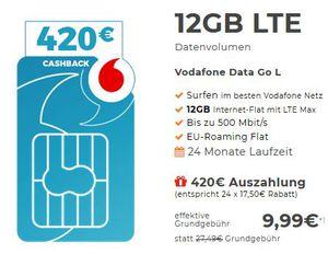 Vodafone DataGo 5GB o. 12GB LTE (max. 500 Mbit/s) dank Auszahlung für 7,49€ bzw. 9,99€ montl.