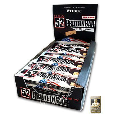 Weider 52% Protein Bar (24 x 50g Box) für 28,22€ (statt 34€)