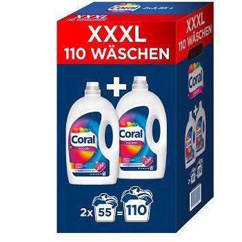 Coral XXXL Optimal Color+  (2x 3850 ml) für 110 Waschladungen für 14,99€