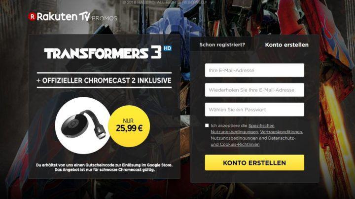 Google Chromecast 2 + Transformers: Die Rache HD Stream für nur 25,99€ (statt 37€)