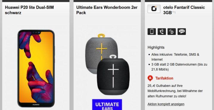 Top! Huawei P20 lite + 2 x Ultimate Ears Wonderboom (Wert 406€) + Otelo Allnet & SMS Flat & 3GB für 19,05€ mtl.