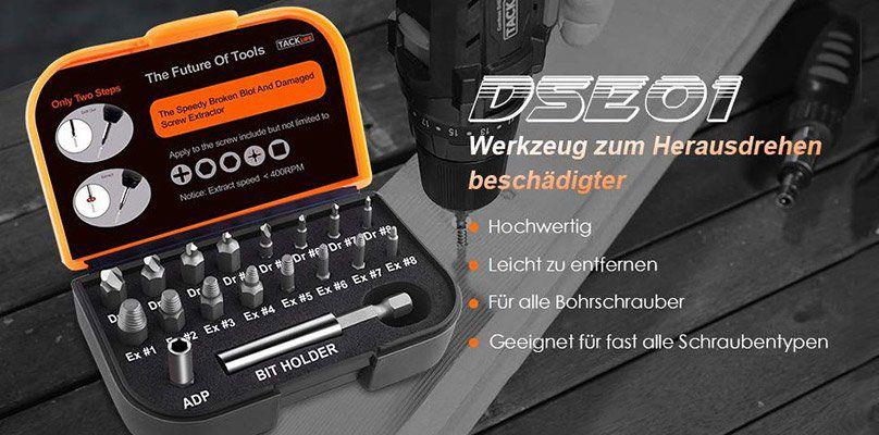 TACKLIFE DSE01   18 Teiliger Bitkasten mit Bohrbits, Verlängerungsbit & Adapter für beschädigte Schrauben für 8,99€ (statt 13€)