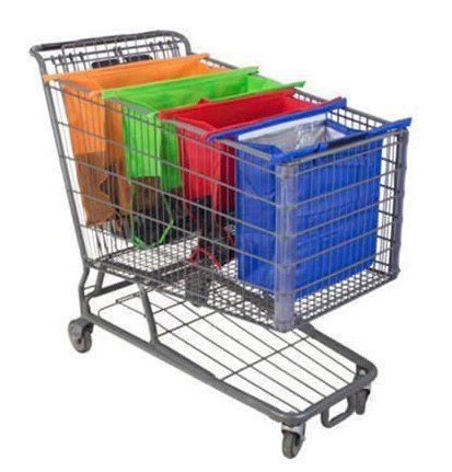 Einkaufstaschen für den Einkaufswagen im Viererpack für 12,90€