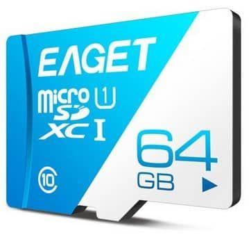 EAGET T1   Class 10 TF Card mit 64GB für 10,86€
