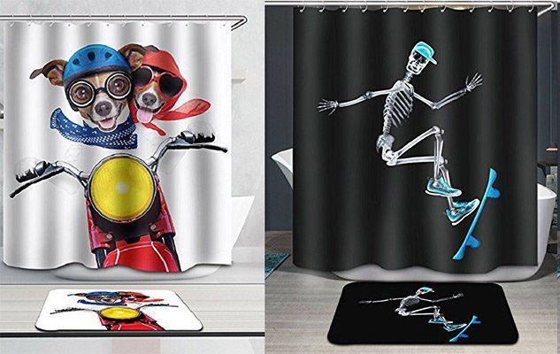 3D Duschvorhänge (180x180cm) + Badezimmermatte in versch. Motiven für 8€ (statt 20€)   Prime