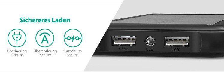 RAVPower Outdoor Powerbank (RP PB082) mit Solarzelle für 22,49€ (statt 30€)