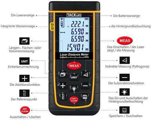 Tacklife A LDM01   Laser Entfernungsmesser (40m) für 21,98€ (statt 30€)