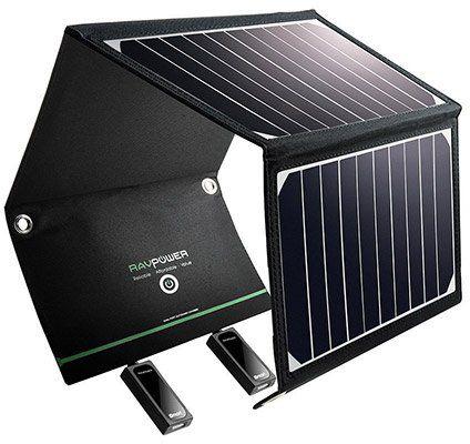 RAVPower RP PC008   16W Solar Ladegerät mit 2 iSmart USB Ports für 36,99€ (statt 47€)