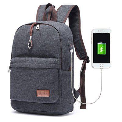 Travistar   leichter Canvas Rucksack mit USB Ladeport für 18,39€ (statt 23€)